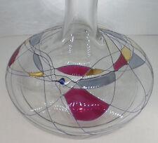 große flache Whisky Karaffe Flasche Tiffany Stil Fäden Cristal de Paris 1 Liter
