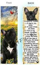 FRENCH BULLDOG BOOKMARK BLACK DOG RULES Property LAW Book Mark Art Card Figurine