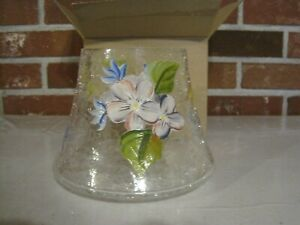 CRACKLE GLASS CANDLE LAMP SHADE FLOWERS & DRAGONFLIES--NEW