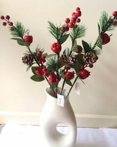 4x56cm Christmas Red Berry Holly Branch Pine Cones Xmas Artificial Flower Wreath