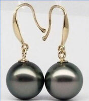Perfect Round Black 10-11mm AAA++ South Sea Pearl Dangle Earring 14k  Gold