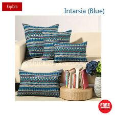 Blue Intarsia Natural Cotton Linen Cushion Cover Home Decor Pillow Case 60*60cm