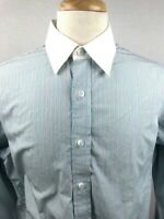 Black Brown 1826 Mens Long Sleeve Button Front Shirt Sz LARGE Blue Gray Striped