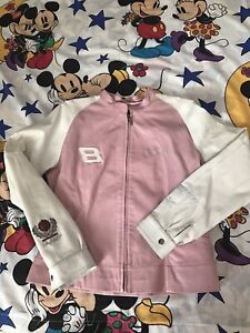 Dale Earnhardt Jr #8 Women's Pink & White Jacket by Wilson Leather Size M Med.