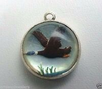 Vintage sterling silver DUCK HUNTING CRYSTAL INTAGLIO REVERSE CRYSTAL charm