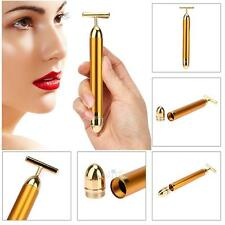 24K Golden Pulse Waterproof T Shape Facial Roller Skin Care Beauty Bar Massager