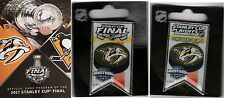 2017 STANLEY CUP FINAL PROGRAM + NHL BANNER PIN SET PREDATORS WESTERN CONFERENCE