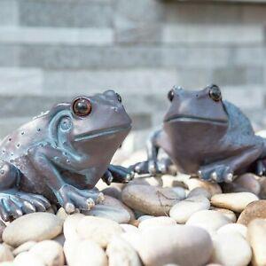 2Pc Large Frog Garden Ornaments Bronze Effect Pond Decor Statue Pair decoration
