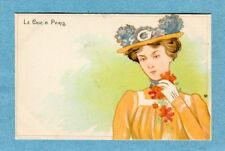 "A4738  Henri Meunier Postcard  ""Le Chic A Paris""  Woman in Hat with Gray Trim"