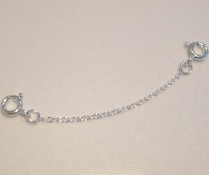 925 Sterling Silver Extender Safety Fine Trace Chain 2 x Bolt Rings MULTI SIZES
