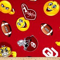 University of Oklahoma Sooners Fleece Fabric Emoji Design-Fleece Blanket Fabric