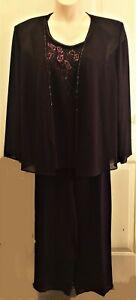 New R&M Richards 3 Piece Purple Pantsuit, Beaded Shell & Jacket, Women's 18W