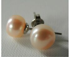 Pink Pearl Earrings, 18 ct White HGP