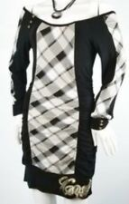 Nwot Coogi Black Grey Plaid Bodycon Dress L