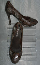 JENNIKA WOMENS  BROWN ANIMAL PRINT FAUX SUEDE COURT SHOES SIZE:5/38(WHS73)