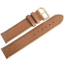 16mm Mens Fluco Tan Smooth Pigskin Leather GOLD Buckle German Watch Band Strap