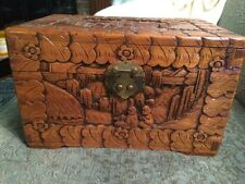 Antique Hand-Carved Chinese Camphor Wood Chest Box