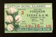 1941 Cotton Bowl Ticket Fordham Rams v Texas A&M Aggies 1/1/41 40783