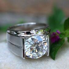 3.0Ct Round Cut Solitaire Diamond Engagement Men's Ring In 14K White Gold