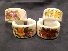 Queens Rosina China Set of 4 Napkin Rings Floral Design England