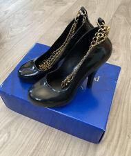 Ladies Vivienne Weatwood Black Skyscraper Black Shoes With Chain Size 5
