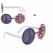 Peace Symbol Sunglasses U,S. USA American Flag 60's 1960's Hippie Glasses UV400