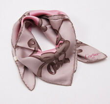 Women's New $330 CARTIER Light Brown and Pink Ribbon and Bow Motif Silk Scarf