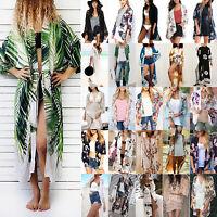 Damen Cardigan Vertuschung Kimono Bikini Cover Up Tunika Sommer Strand Kimono