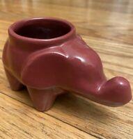 Vintage Wine Colored Ceramic Pottery Elephant Planter