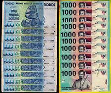 10 x 1 Million Zimbabwe Dollars + 10 x 1000 Indonesia Rupiah Banknotes Mixed Set