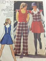 1973 Simplicity 5852 Vintage Sewing Pattern Womens Vest Skirt Pants Size 13 14