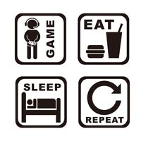 Game Room Wall Decor Sticker Door Decal GAME EAT SLEEP REPEAT Wall Art Mural
