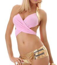 SEXY MISS Femmes Gogo à Langer TOP Anneau Metallic Freesize 34/36/38 Rose Gold