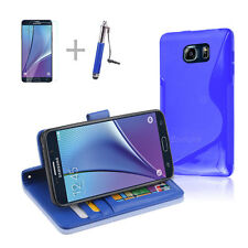 BLUE Wallet 4in1 Accessory Bundle Kit S TPU Case Cover F Samsung Galaxy Note 5