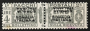 ITALY SOMALIA Pacchi Sassone n.63b  cv1680$ MNH** Double surcharge, one inverted