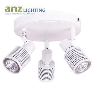 3 Round LED GU10 spotlight in White