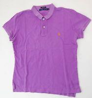 Ralph Lauren Piquè Poloshirt Polohemd Damen Slim Fit Gr.L lila uni Knopf -S843