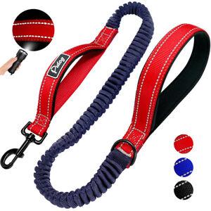 Reflective Nylon Big Dog Leash with 2 Handle Elastic Bungee Pet Walking Leash