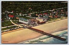Aerial View of Atlantic Beach Hotel & Fishing Pier in Florida Linen Postcard New