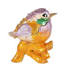 Enameled Rhinestone Bird Hinged Metal Trinket Box Collectible Wedding Decor Gift