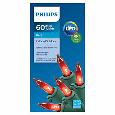 Philips 60 LED Red Mini Lights Green Wire Indoor/Outdoor NIB