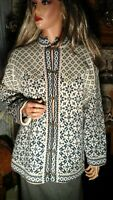 VTG NORLANDER NORWAY PURE WOOL CARDIGAN SWEATER WOMEN'S LARGE ORNATE HARDWARE