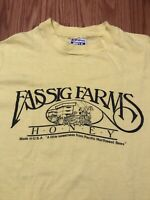 Vintage Fassig Farms Honey Bee Tee XL 90s Hanes Beefy Pale Yellow Thin Shirt