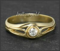 Lupenreiner Diamant Ring aus 585 Gold, Antik um 1930, 0,15ct Brillant Solitär