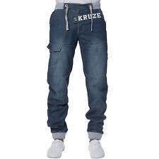 New KRUZE Mens Designer Casual Jogger Cuffed Denim Jeans All Waist Big Sizes