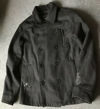 HENLEYS PREMIUM Double Breasted Grey Pea Coat, Jacket, 3, M (20in), Sleeve Logo
