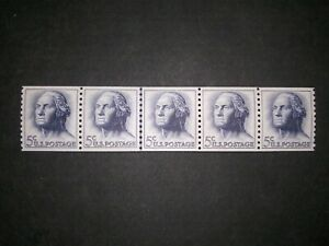 RIV: US MNH 1229a TAGGED Line Pair in Strip of 5 NICE mint 1962 coil joint lp 2B