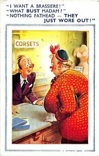 POSTCARD  COMIC   BAMFORTH  ( LARGE BROWN TRIANGLE)  Fat  Lady  Brassiere  Bust