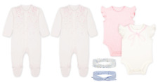 Mothercare 2x Sleep Suit + 2 Pack Vest Bodysuit Baby Girls Pink + Headbands BNWT