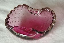 Strawberry Pink, Murano Vintage Control Bubble Ruffle Bowl Ashtray Studio Glass
